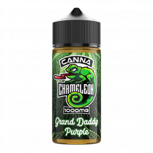 CANNA CHAMELEON Strain-specific 100ml bottle of chameleon CBD E-Liquid (1000mg) Our popular CANNA CHAMELEON CBD E-Liquid (1000mg) is available in 5 amazing flavours Banana Kush, Blue Cheese, Grand Daddy Purple, Lemon Skunk and O.G Kush The ratio is 70:30 PG/VG