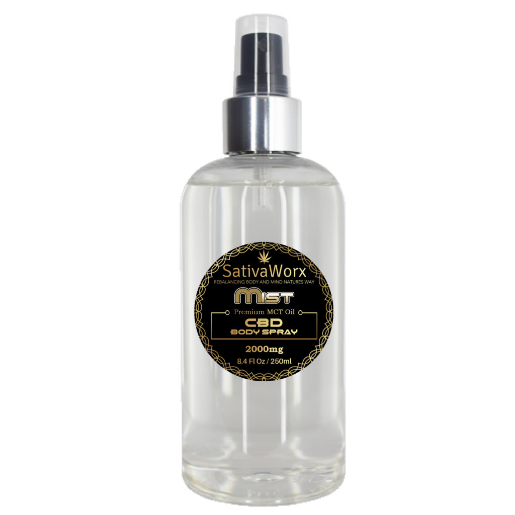 SativaWorx CBD MIST BODY SPRAY 250ml (Coconut oil) CBD Mistis apotent antioxidant which may sooth minor joint aches and pains. Ingredients: CBD, MCT oil (Palm Free) C8 60% C6 40%