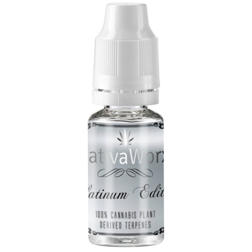 10ml CBD E-liquid bottle with silver label Sativa Classic Range by SativaWorx 100mg, 200mg & 500mg Full Spectrum CBD E-liquid. Design by SativaWorx