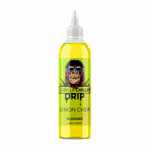 LEMON CHEW GORILLA CHILLER DRIP 10,000mg CBD Sativaworx Gorilla Chiller LEMON CHEW flavour infused drip will crash onto your taste buds vaping this top grade CBD . Mouth watering juicy lemon chew flavour  250ml bottle 10,000mg CBD  70PG/30VG