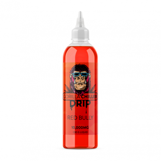 RED BULLY GORILLA CHILLER DRIP 10,000mg CBD Sativaworx Gorilla Chiller RED BULLY flavour infused CBD drip wont give you wings, just some real chill vibes. Sweet flavour & premium CBD 250ml bottle 10,000mg CBD 70PG/30VG